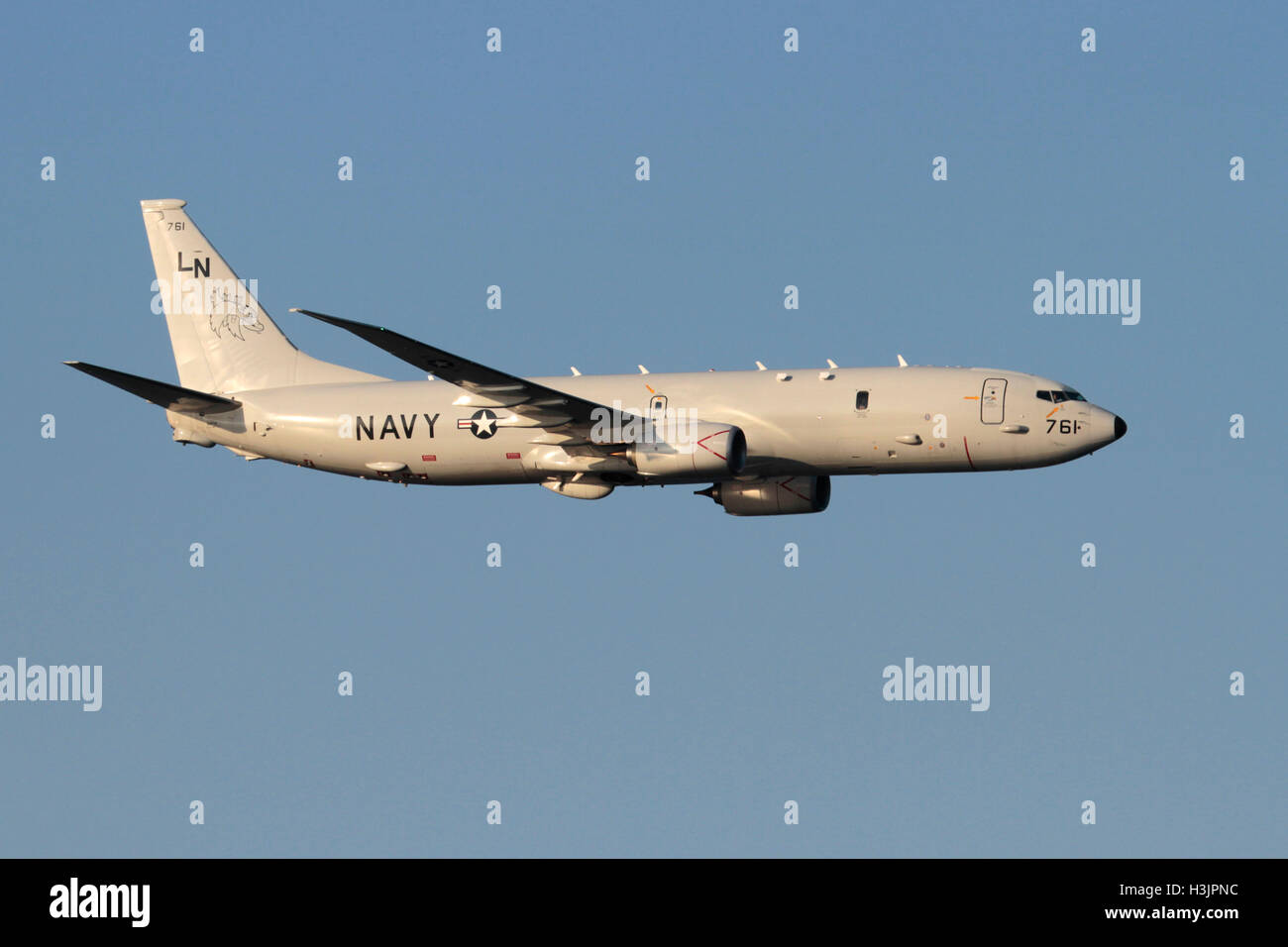 Naval aviation. Boeing P-8A Poseidon maritime patrol aircraft of the United States Navy in flight - Stock Image
