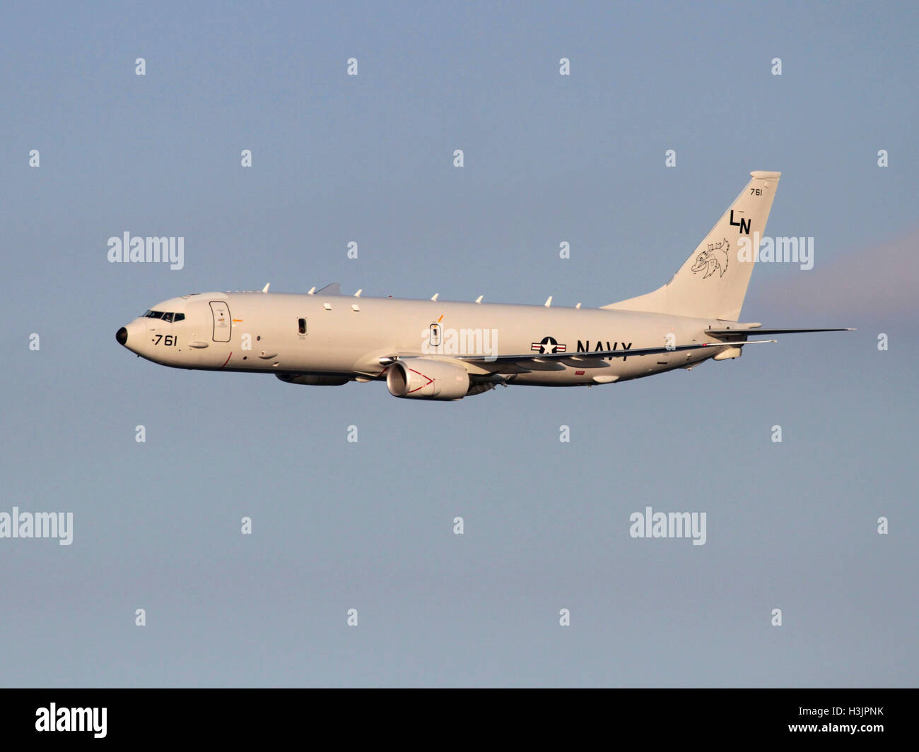 Advanced technology in modern warfare. Boeing P-8A Poseidon maritime patrol aircraft of the United States Navy in - Stock Image