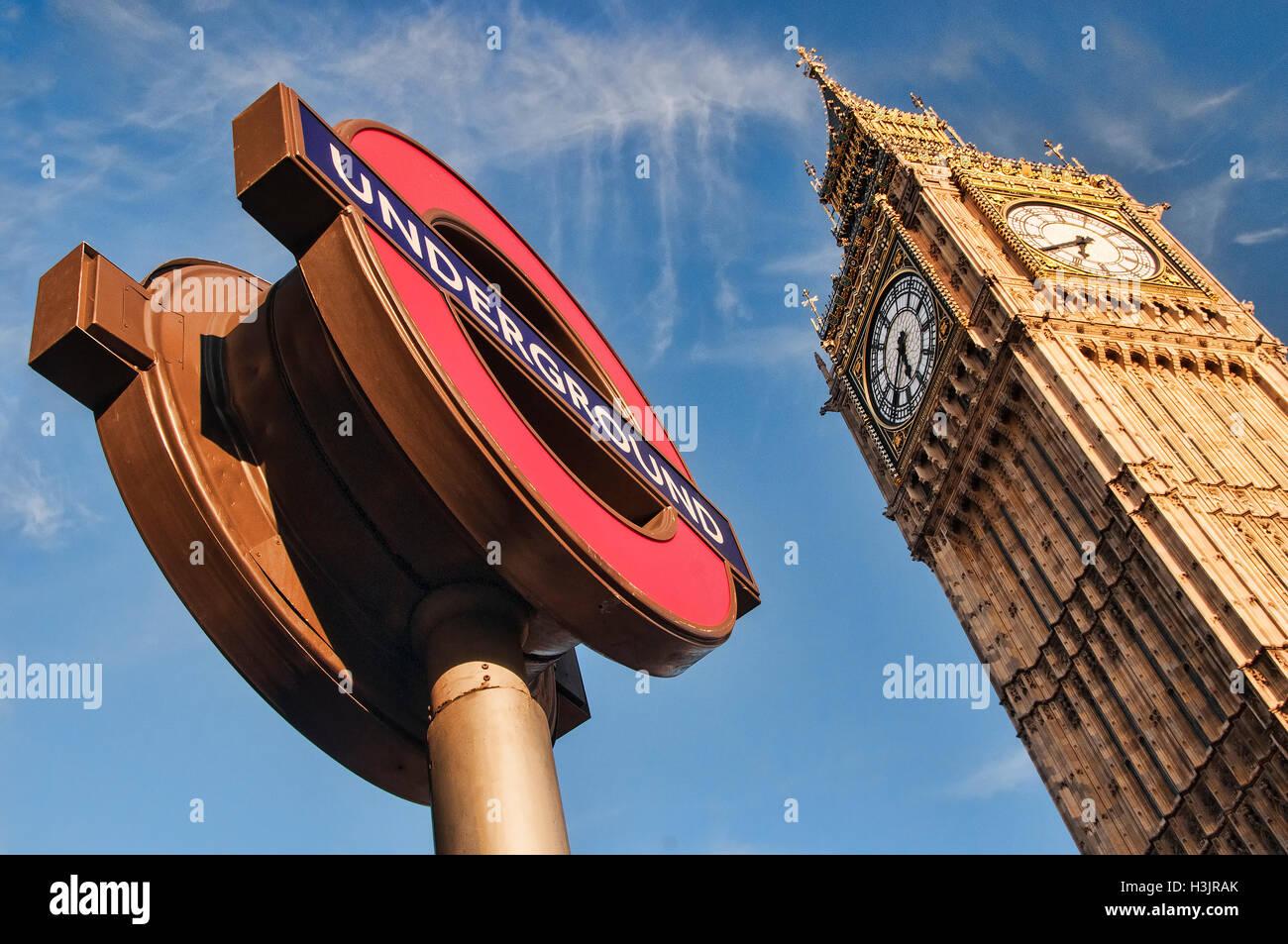 Big Ben and the London Underground Sign, Westminster, London, England, UK - Stock Image