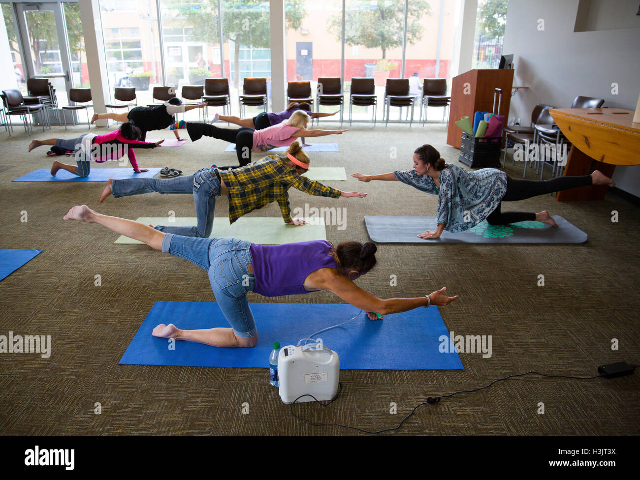 Yoga class at Haven For Hope homeless facility in San Antonio, Texas. Stock Photo