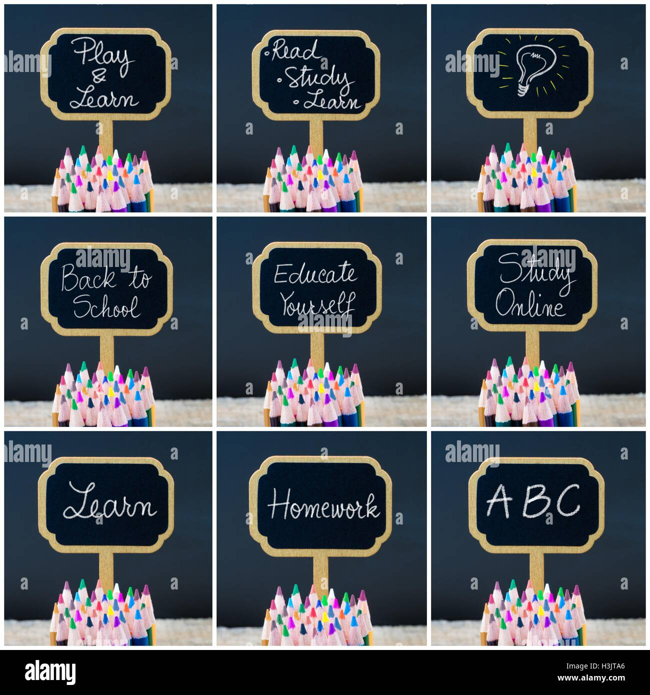 Photo Collage Of Wooden Mini Blackboard Labels On The Theme Back To