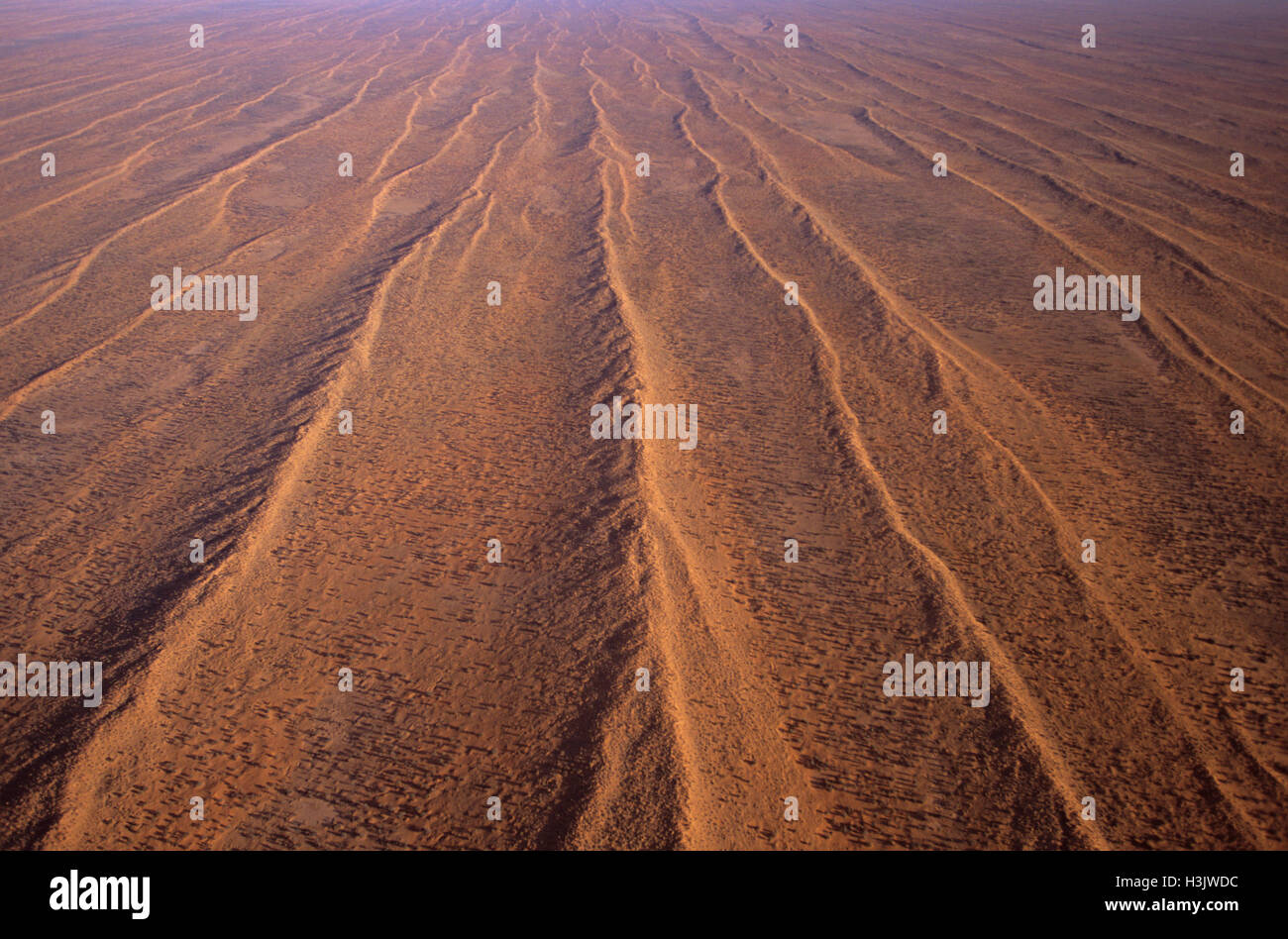 Aerial photograph of dunefields sand dunes and claypans - Stock Image