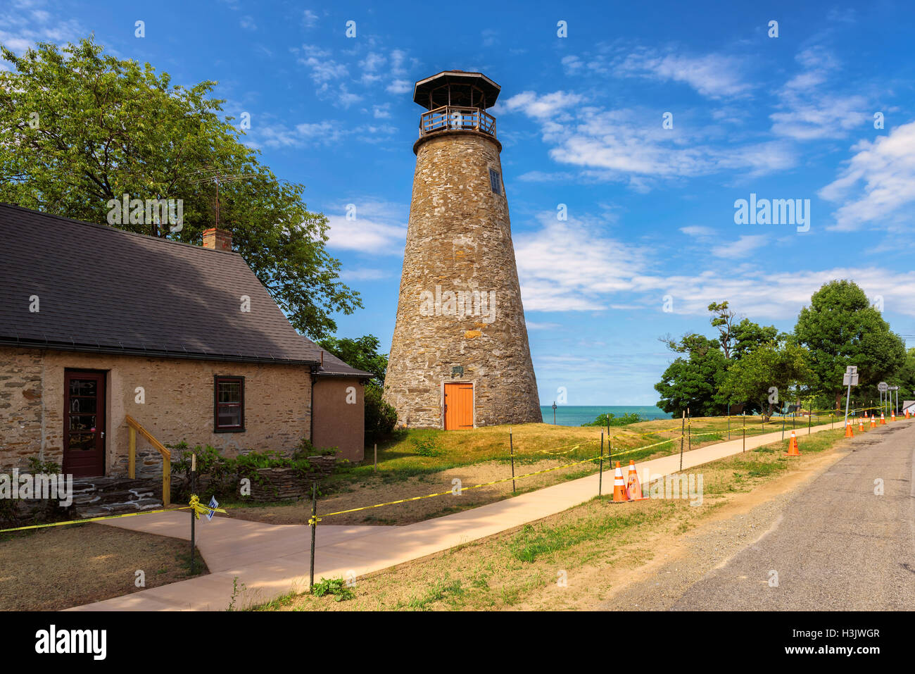 Barcelona Lighthouse in Barcelona Harbor on Lake Erie - Stock Image
