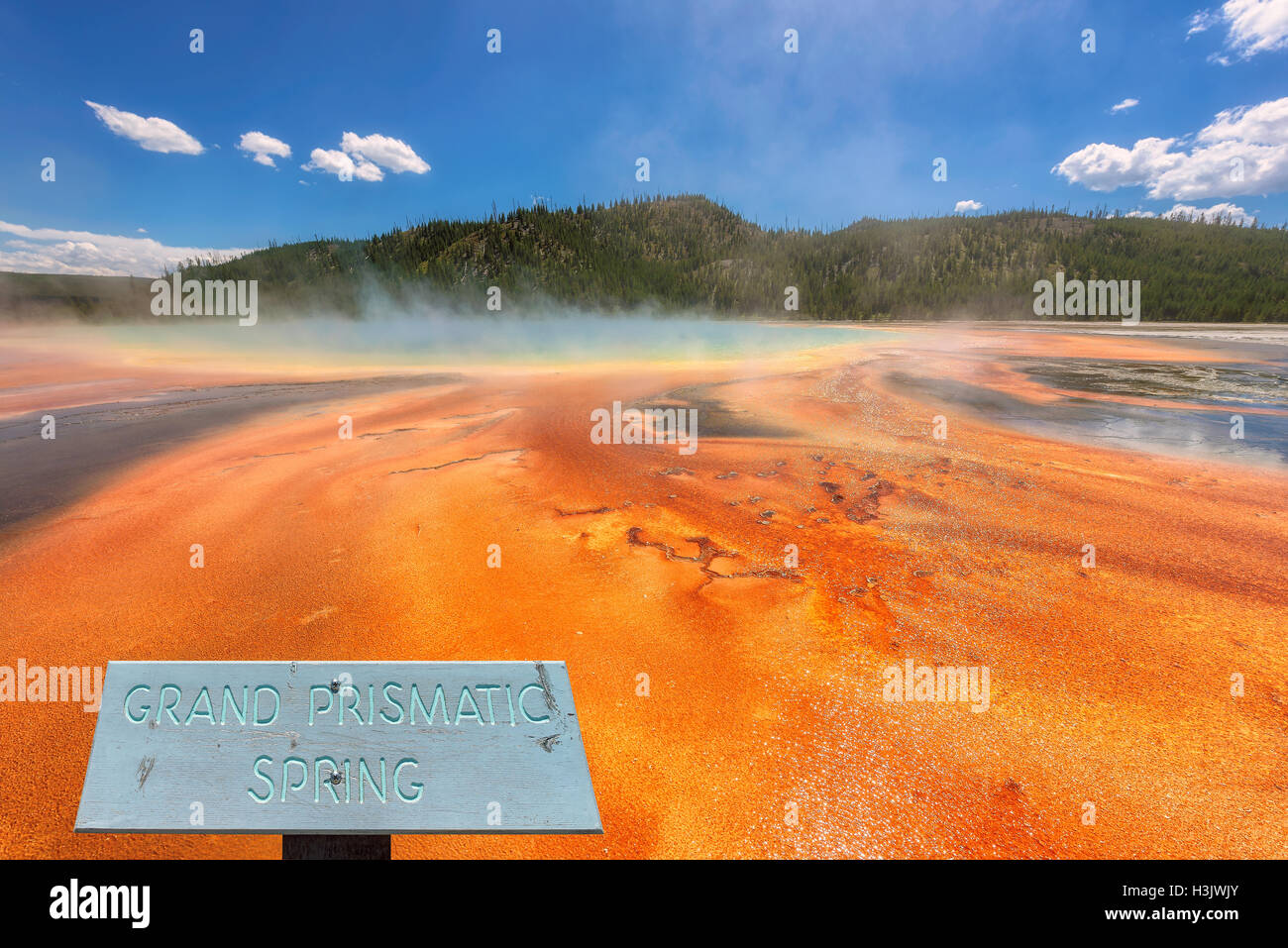 View of the Grand Prismatic Spring in Yellowstone National Park - Stock Image