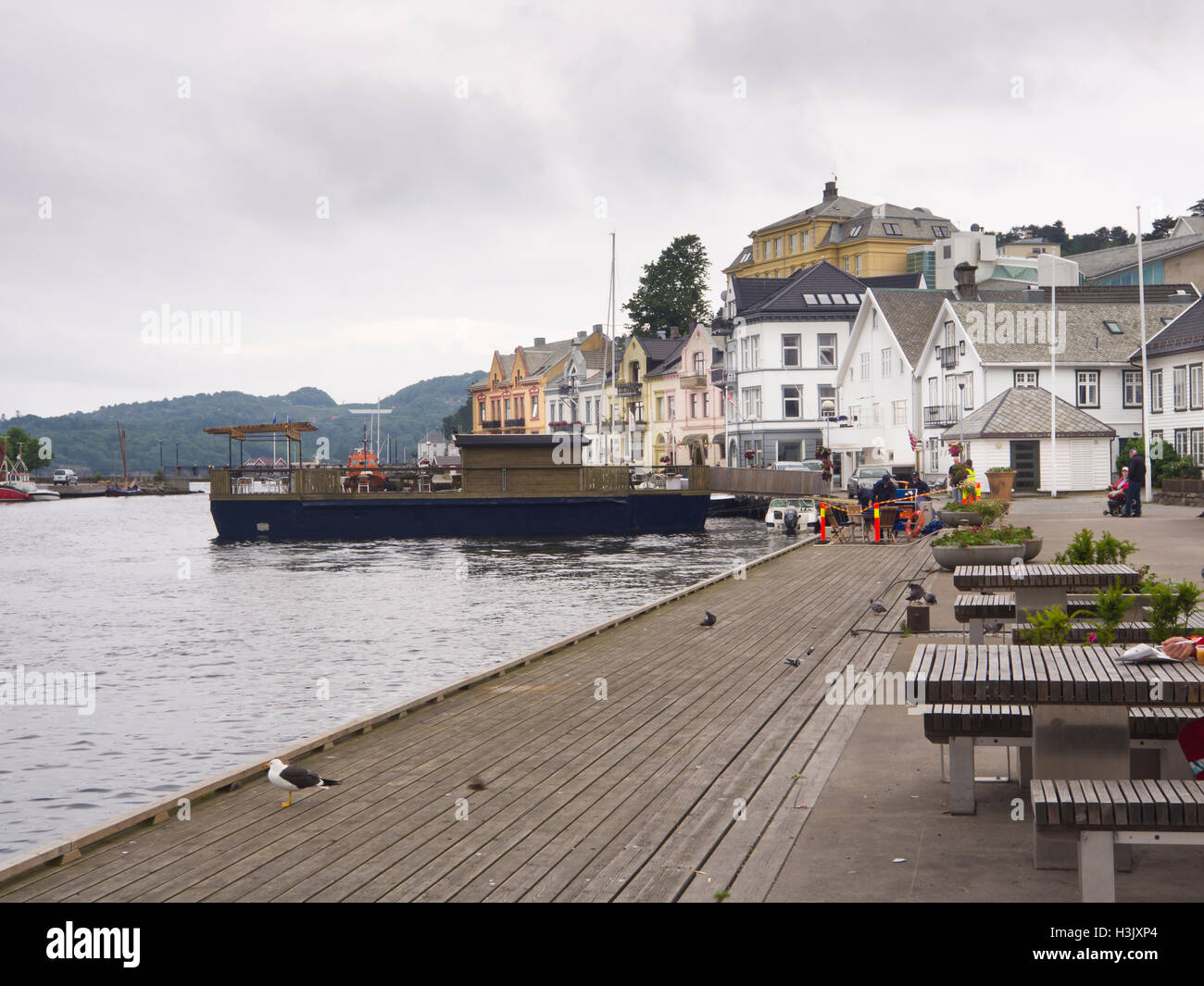 Farsund, Vest-Agder Norway, a small town on the southern coast with proud shipping traditions, harbour with seaside - Stock Image