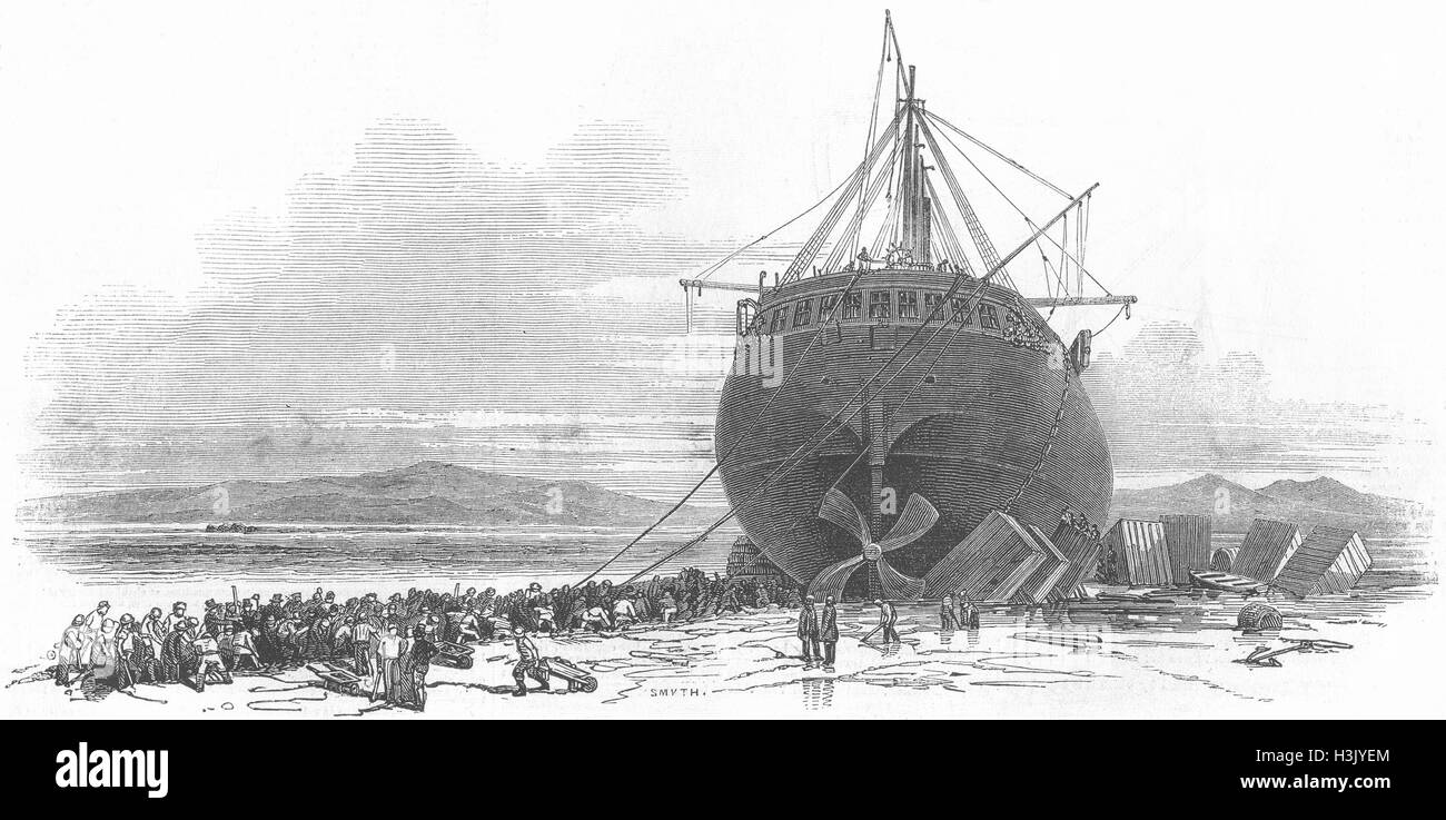 RAILWAYS Gt Britain Ship Cutting trench, sand 1847. Illustrated London News - Stock Image