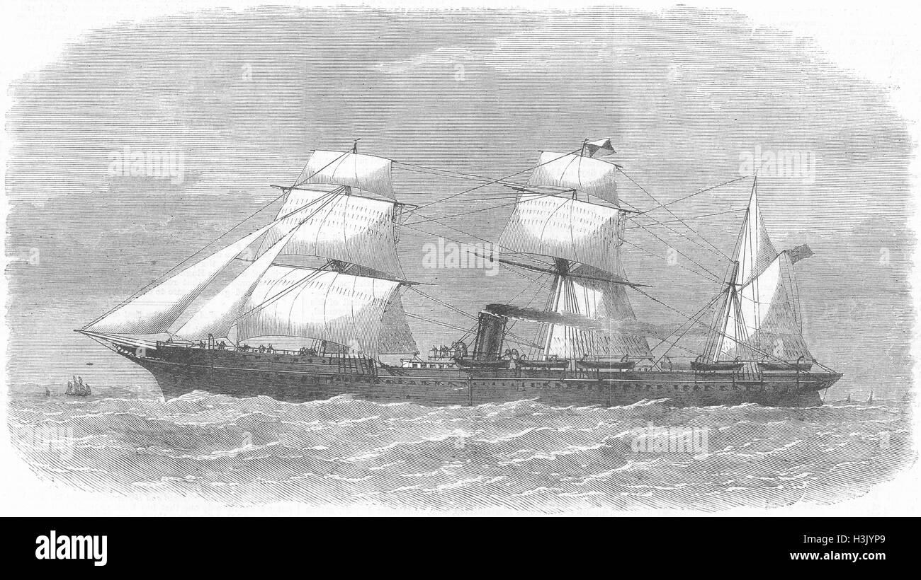 SHIPS P&O Co's Ship Deccan 1869. Illustrated London News - Stock Image