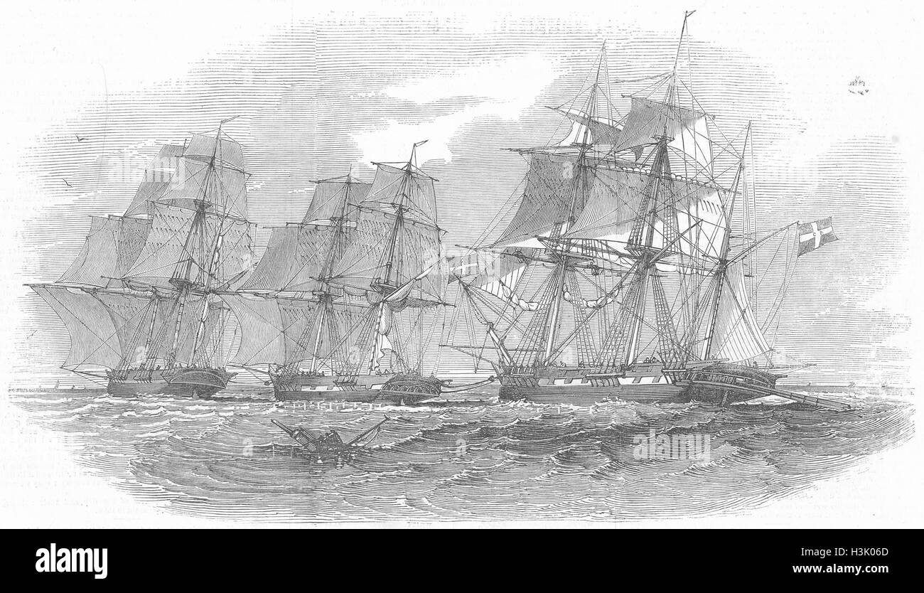 SHIPS Danish ship towing Lady Kennaway 1847. Illustrated London News - Stock Image