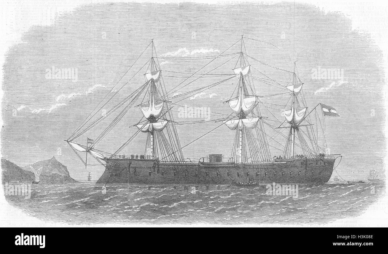 CALLAO Spanish ironclad ship Numancia, Harbour of 1865. Illustrated London News - Stock Image