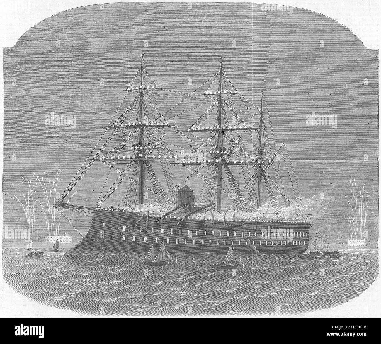 CHERBOURG Naval Fete French Ironclad Magenta 1865. Illustrated London News - Stock Image