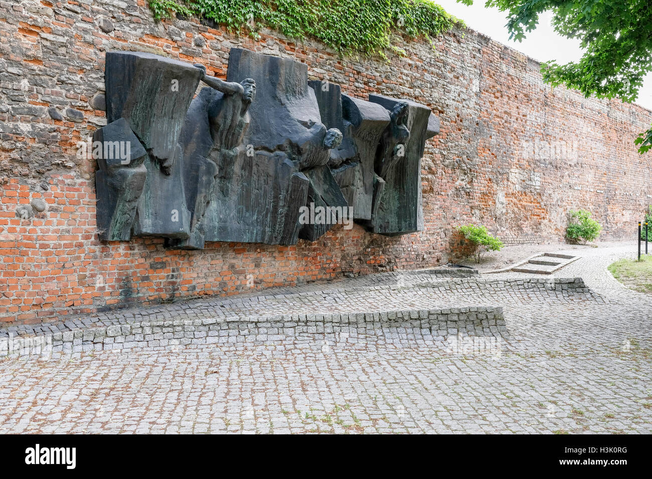 Courtyard of Gdansk postoffice where Nazi's executed resistance group. - Stock Image