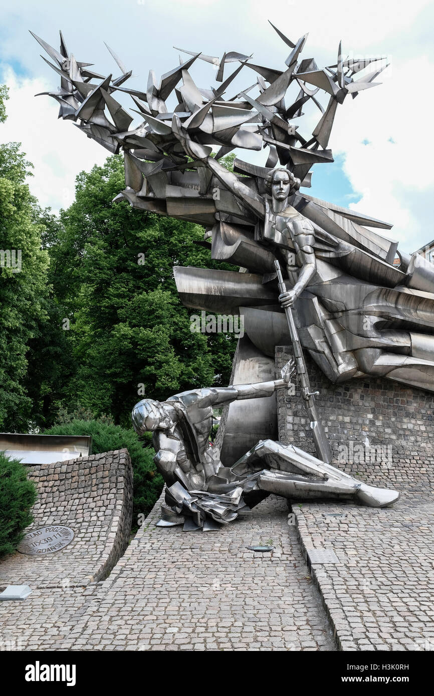 Monument in front of Gdansk postoffice where Nazi's executed resistance group. - Stock Image