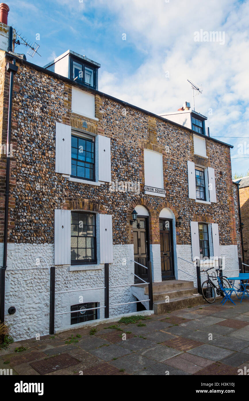 Flint Faced Fishermans Cottage Union Square Broadstairs Kent - Stock Image