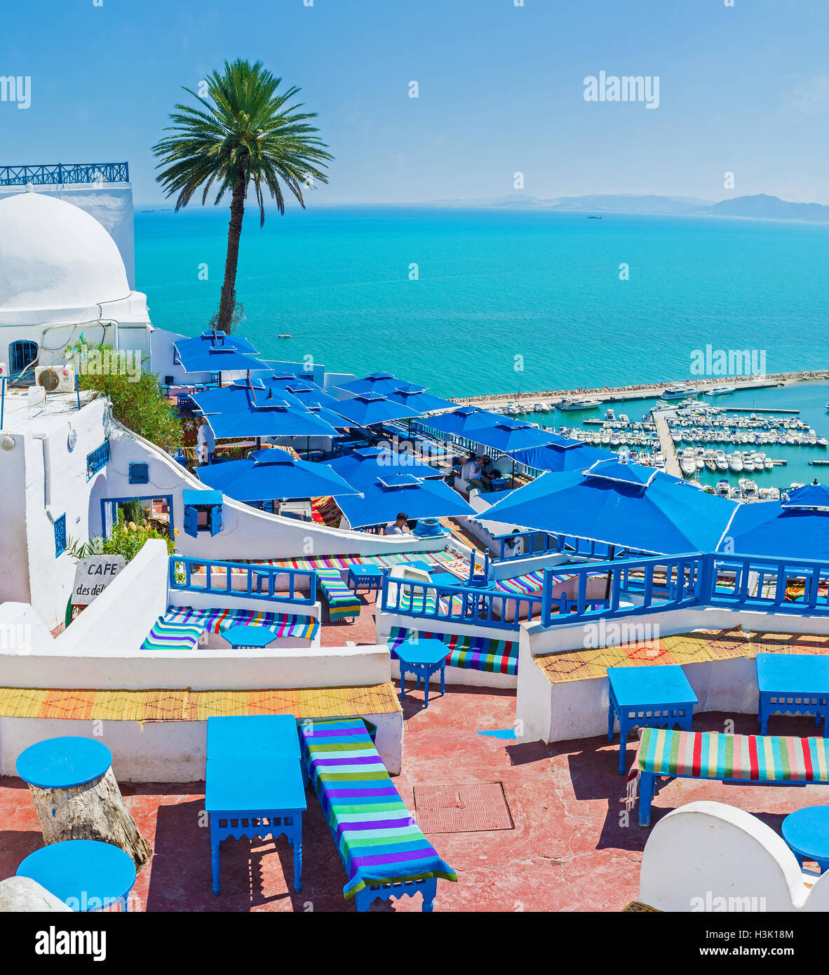 The village offers all the facilities for the best time spending and relax in Sidi Bou Said. - Stock Image