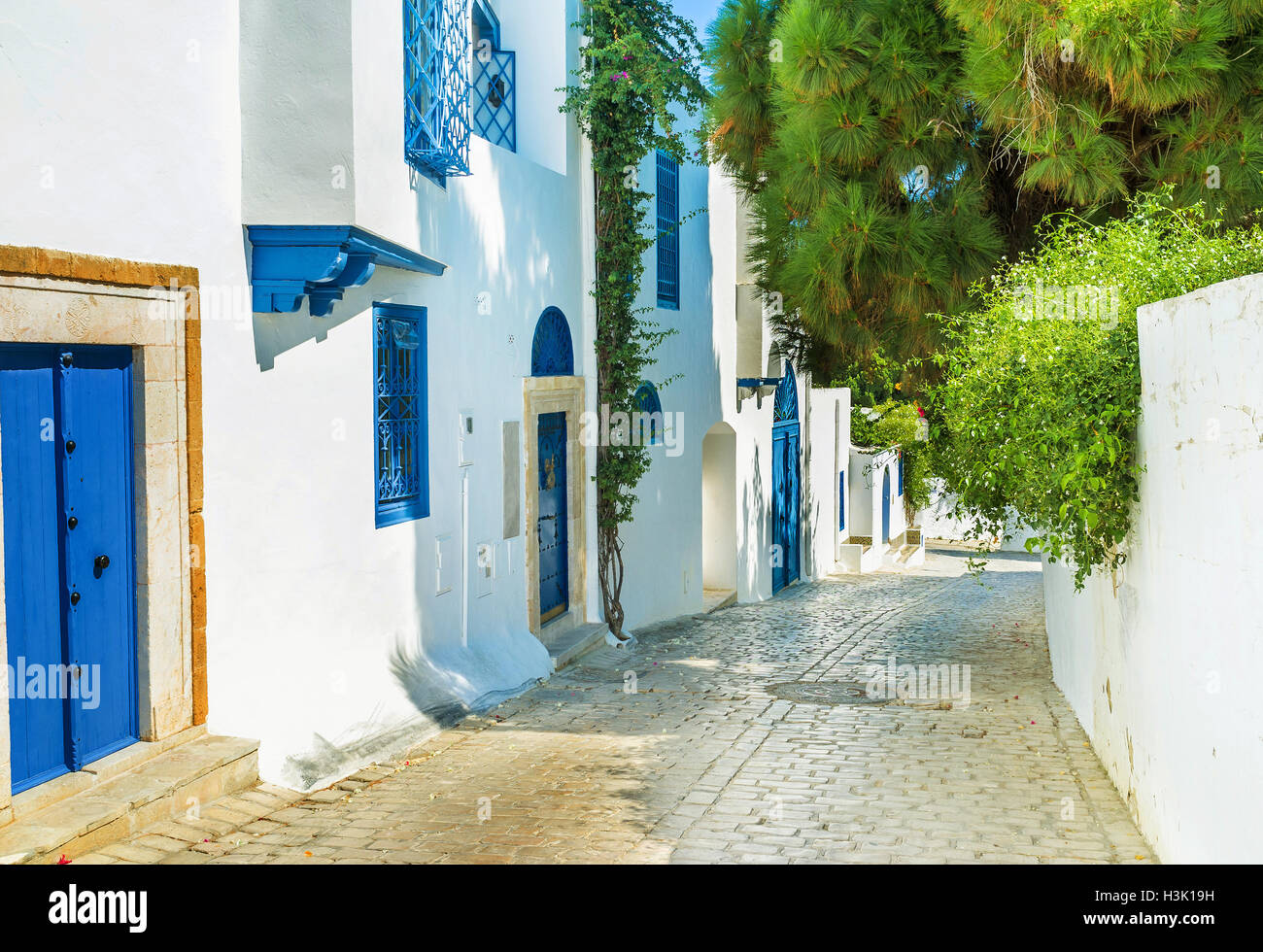 The pleasant walk on the shady street of Sidi Bou Said with posh villas and tourist cottages, Tunisia. - Stock Image