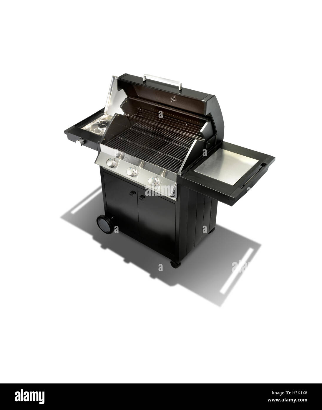 A simple studio shot of a new gas barbecue - Stock Image