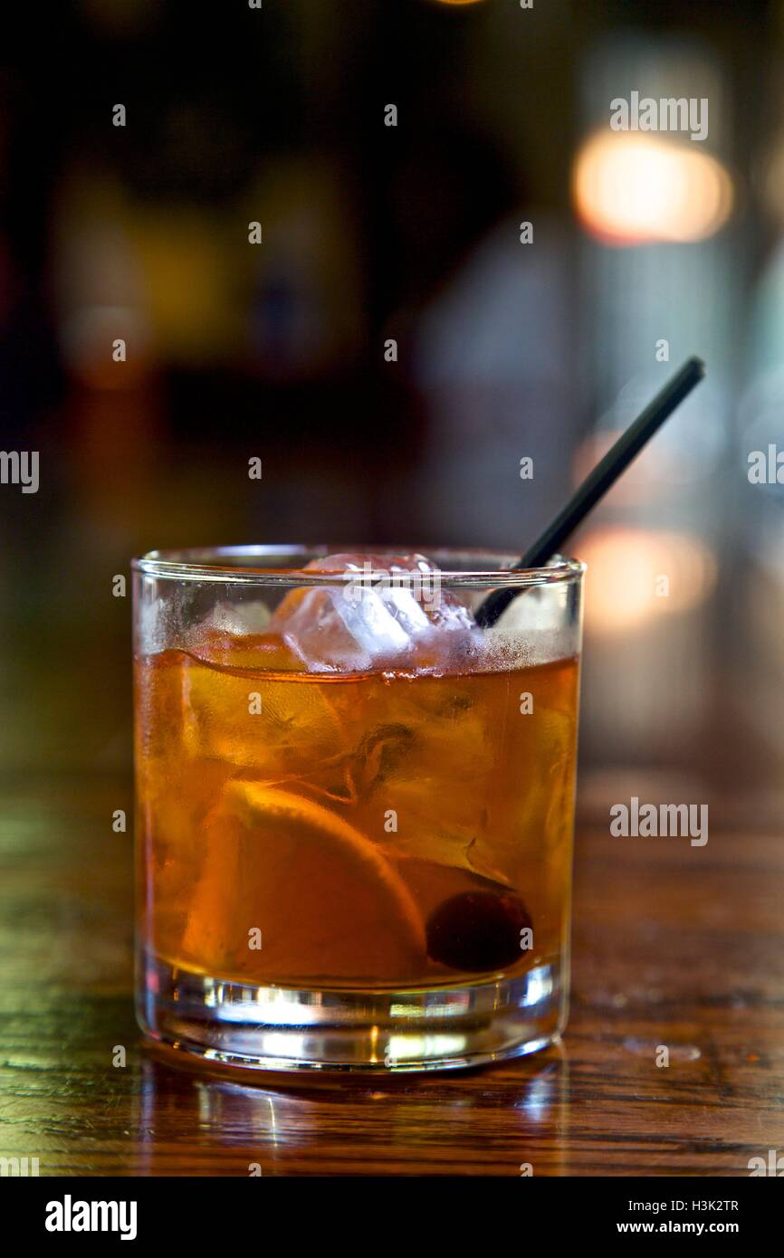Old Fashioned cocktail, close-up - Stock Image