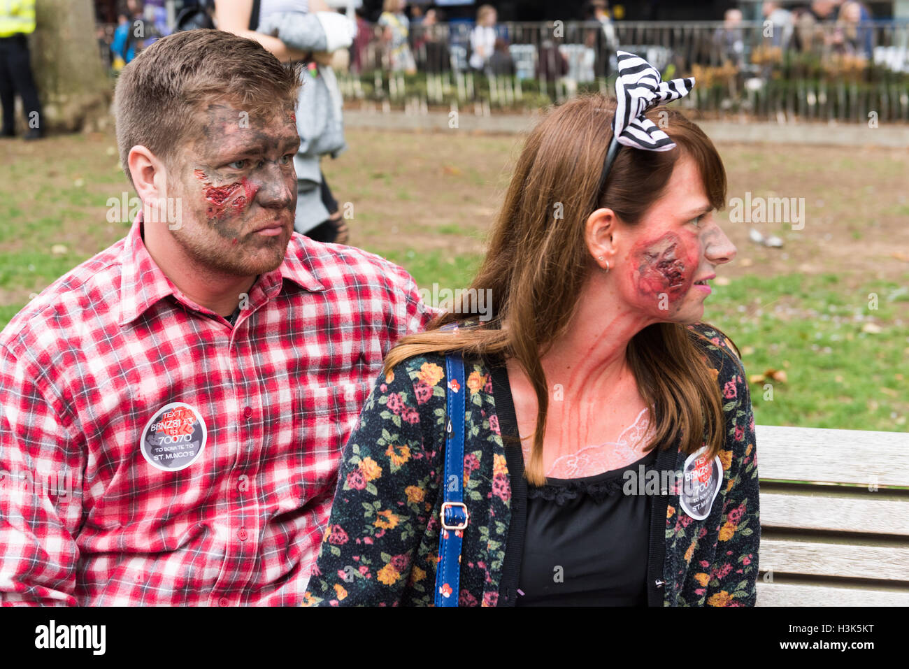 London, UK, 8 October 2016. Zombies in Central London celebrating World Zombie Day while raising funds for St Mungo's Stock Photo