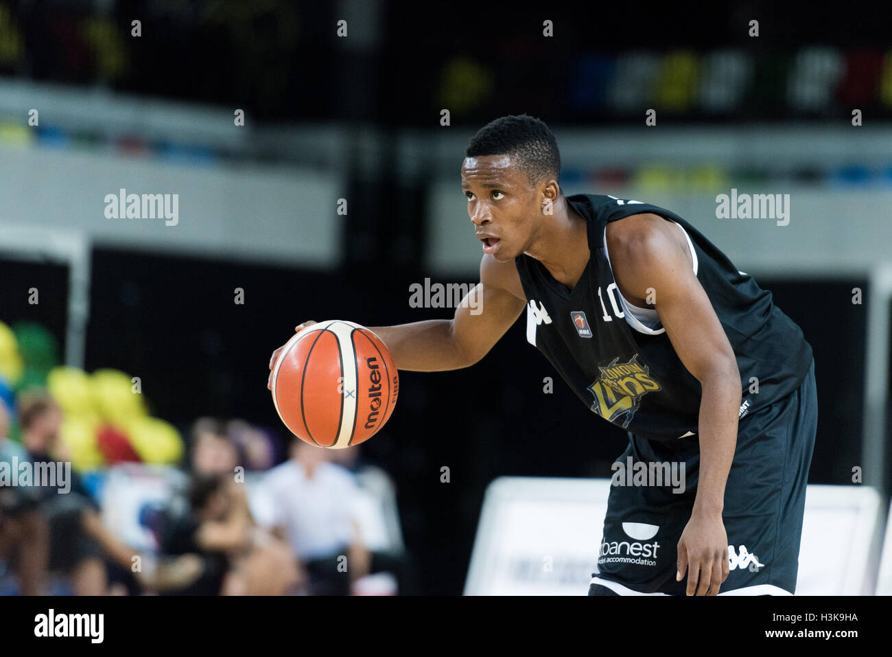 London, UK, 9 October 2016. London Lions beat Plymouth Raiders 105 vs 79 in the BBL cup game. London Lion's - Stock Image