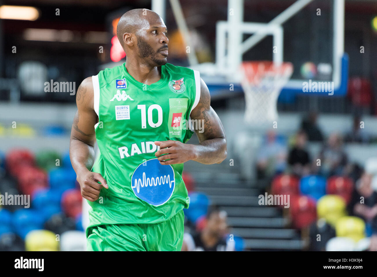 London, UK, 9 October 2016. London Lions beat Plymouth Raiders 105 vs 79 in the BBL cup game. Plymouth Raiders John - Stock Image