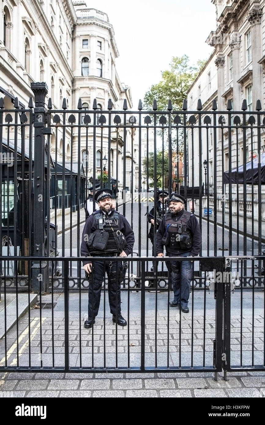 Armed Police Guarding Downing Street London - Stock Image