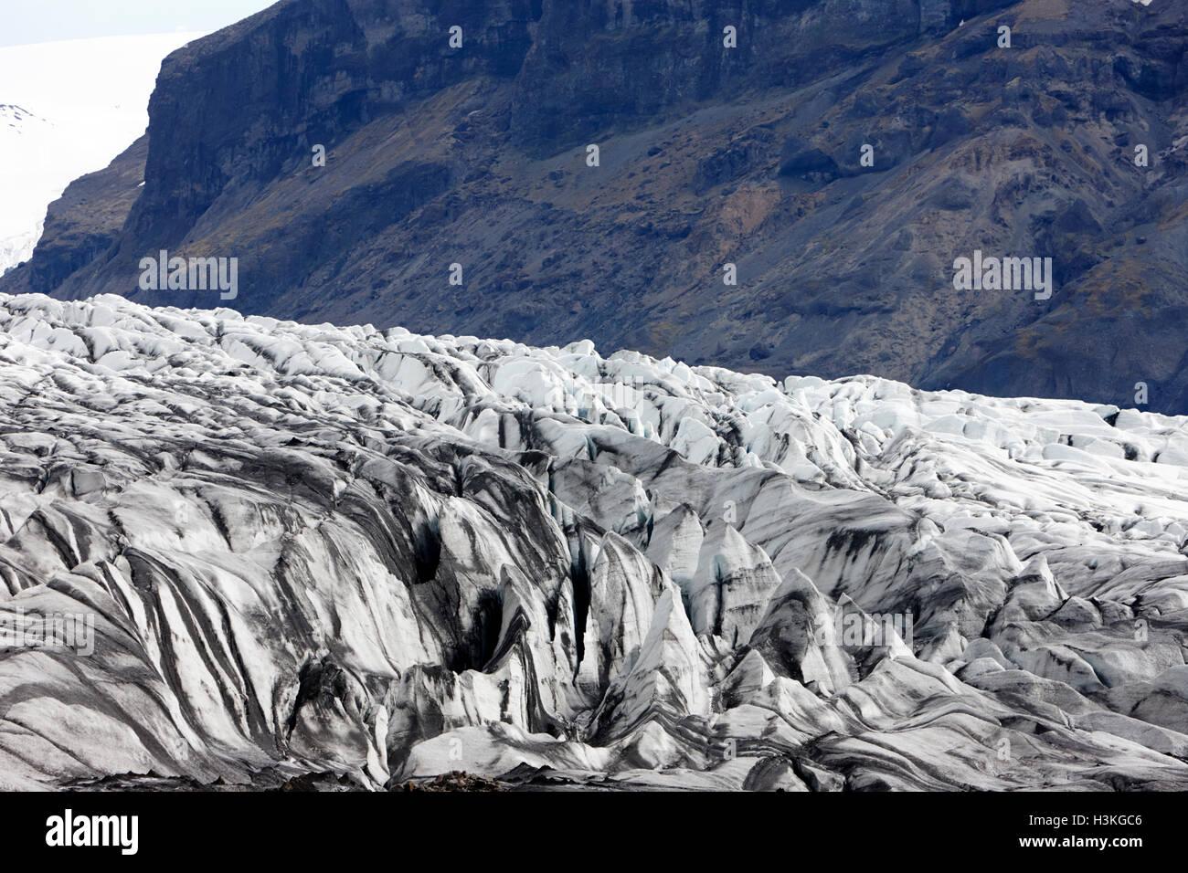 fissures in Skaftafell glacier Vatnajokull national park in Iceland - Stock Image