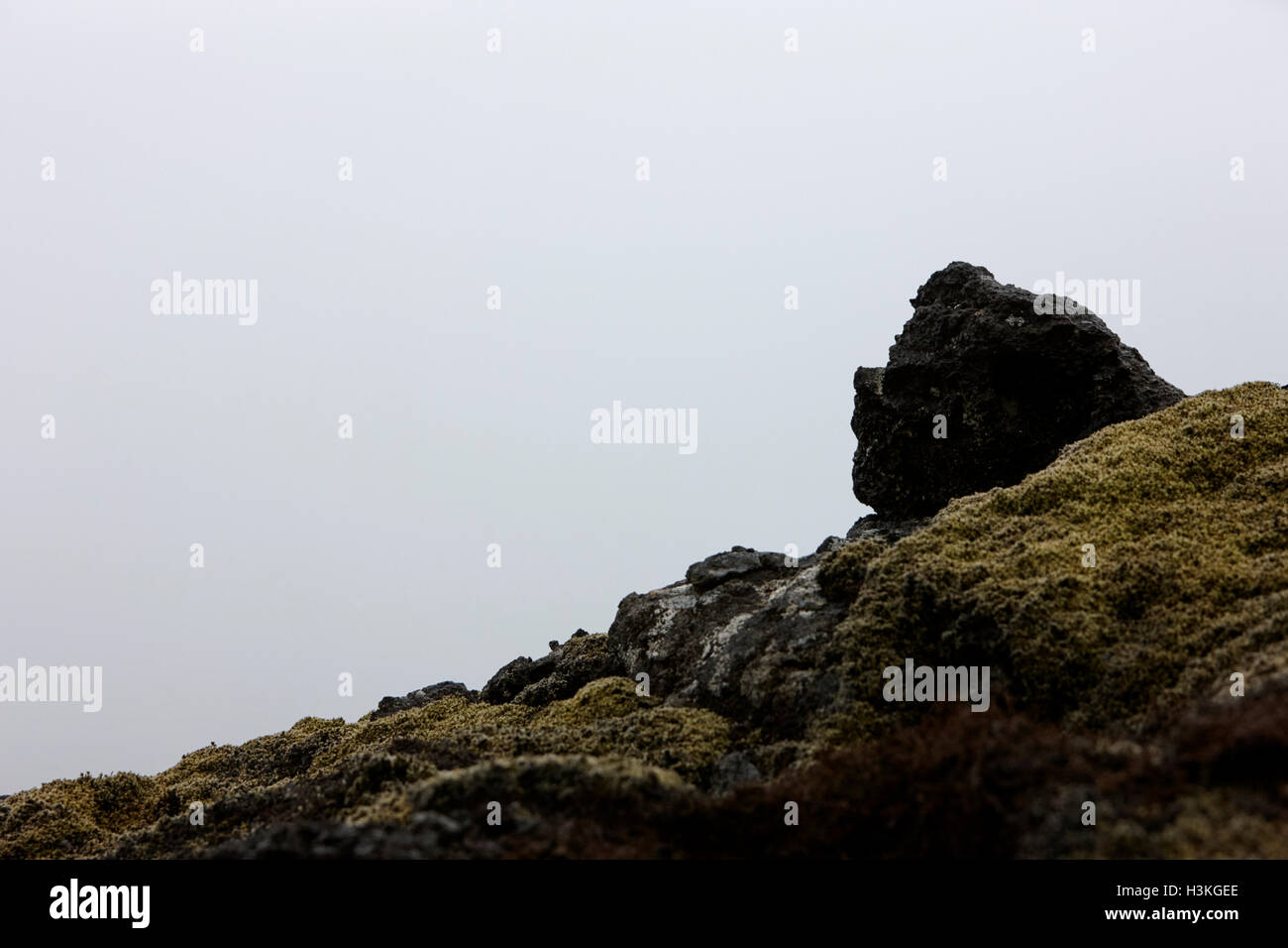 troll face in the volcanic lava field rocks Iceland - Stock Image