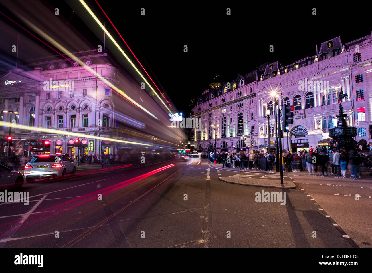 Light Trail Trails at London Piccadilly Circus - Stock Image