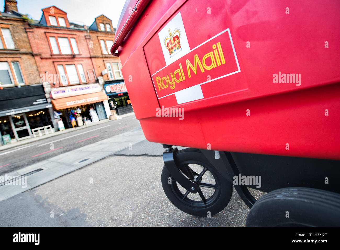 Royal Mail Post Office Trolley London England United Kingdom - Stock Image