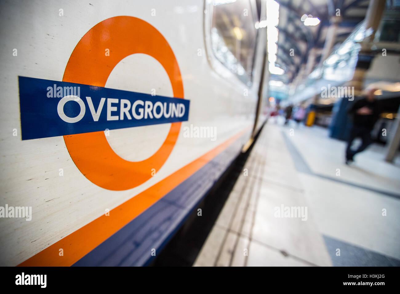 London Overground Railway Logo at Liverpool Street Station - Stock Image