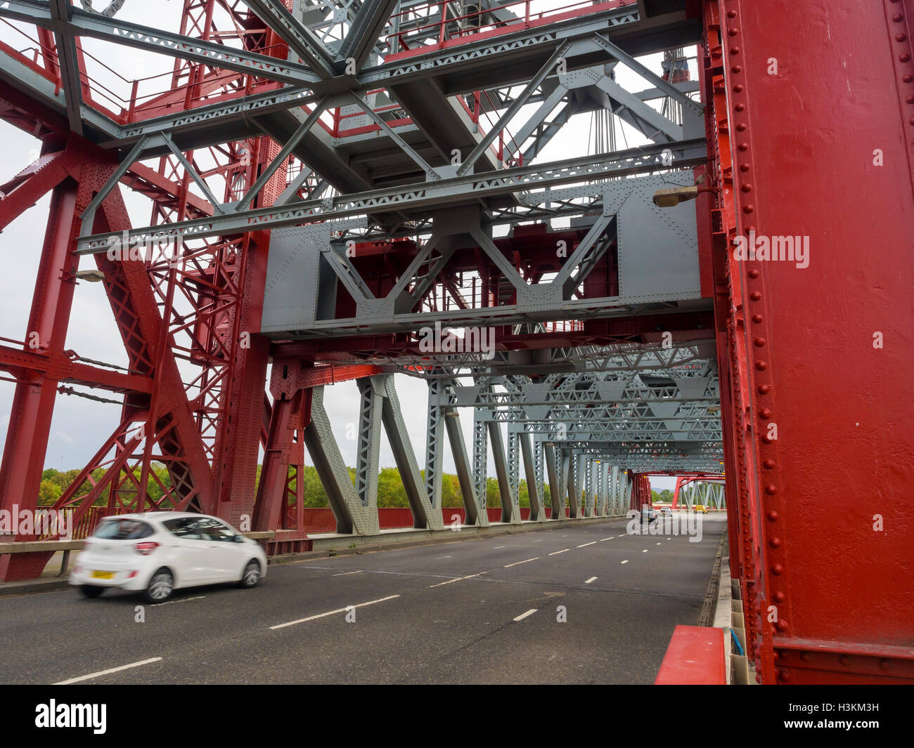 Cars crossing the Newport Bridge over the river Tees Middlesbrough ...