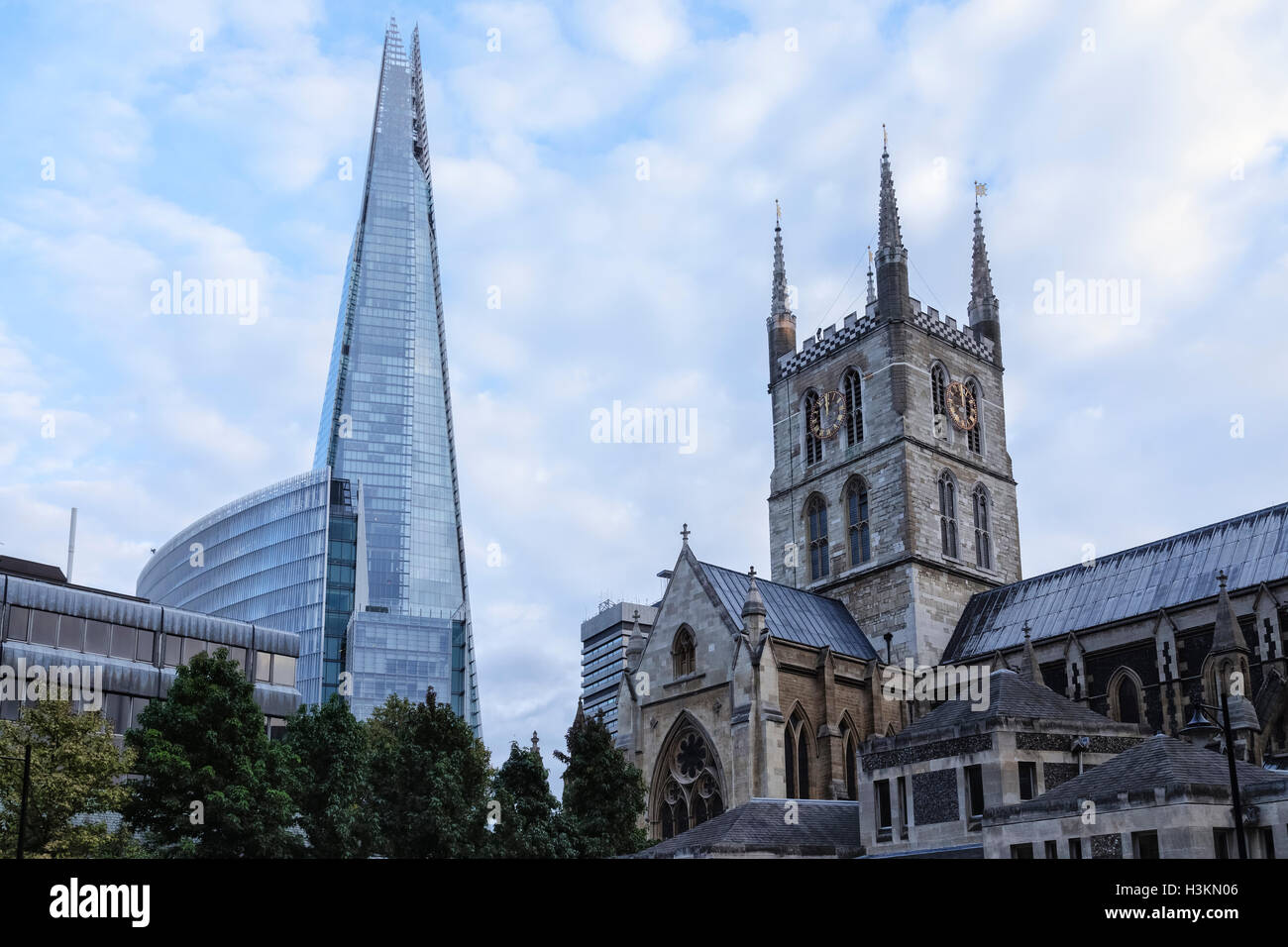 The Shard with the Southwark Cathedral, London, England, UK - Stock Image