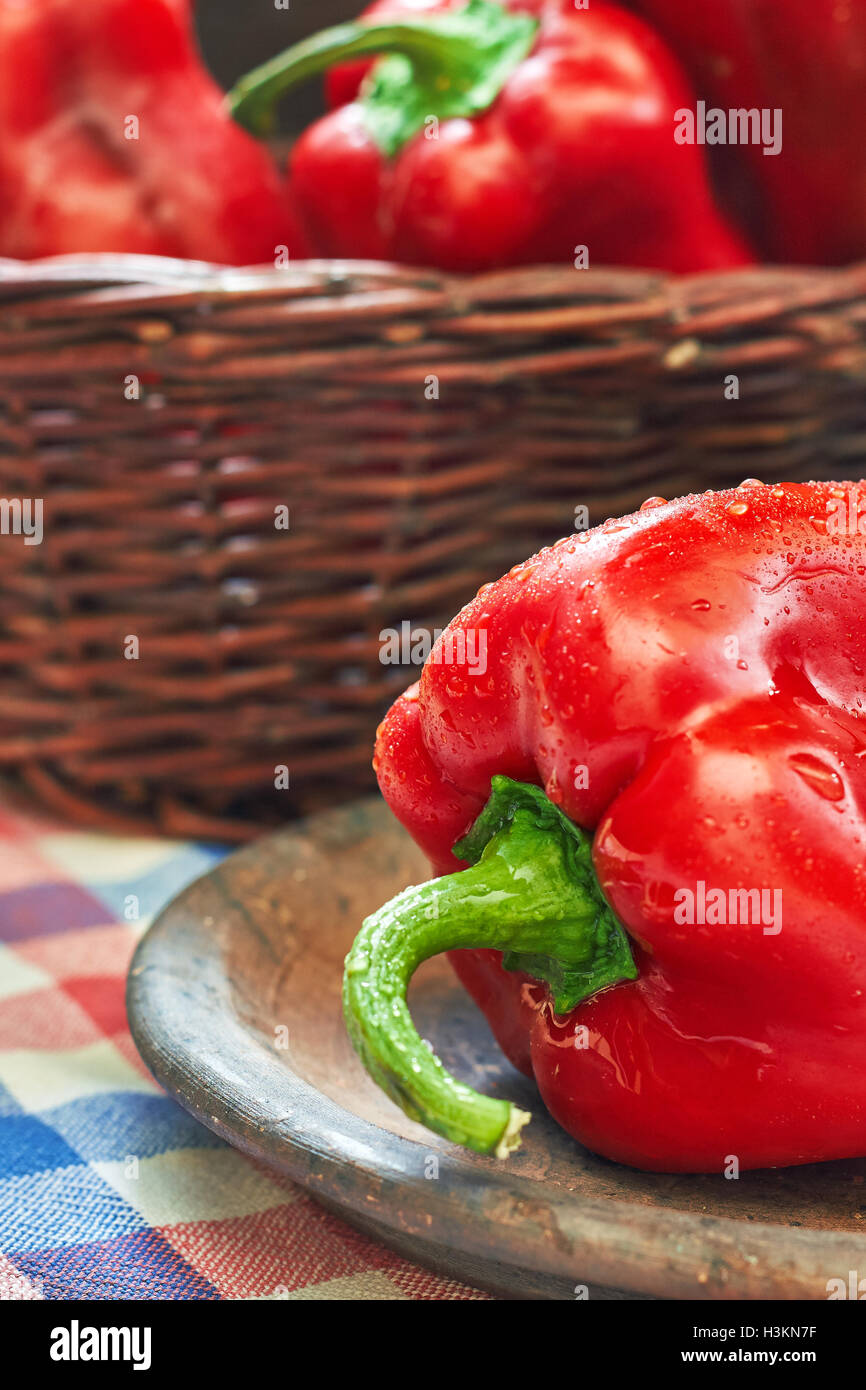 Sweet red peppers, type of pepper known as Elephants Ear Stock Photo