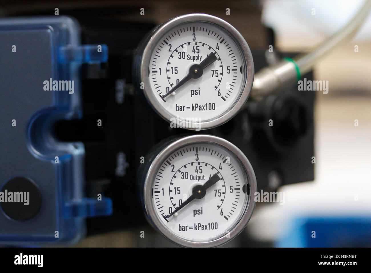 Manometers indicates the pressure of the pipelines. - Stock Image