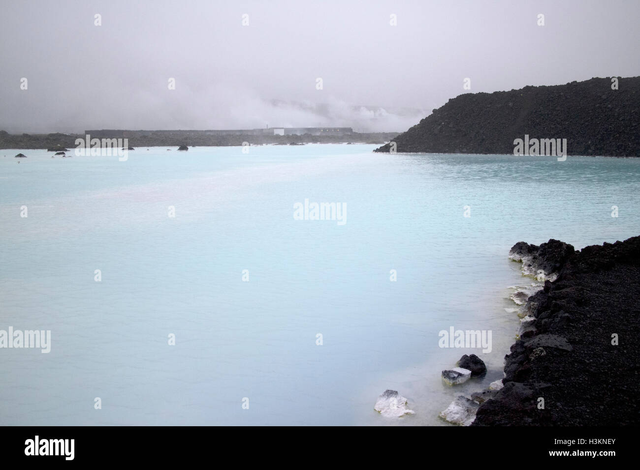 waste water ponds at the blue lagoon Iceland - Stock Image