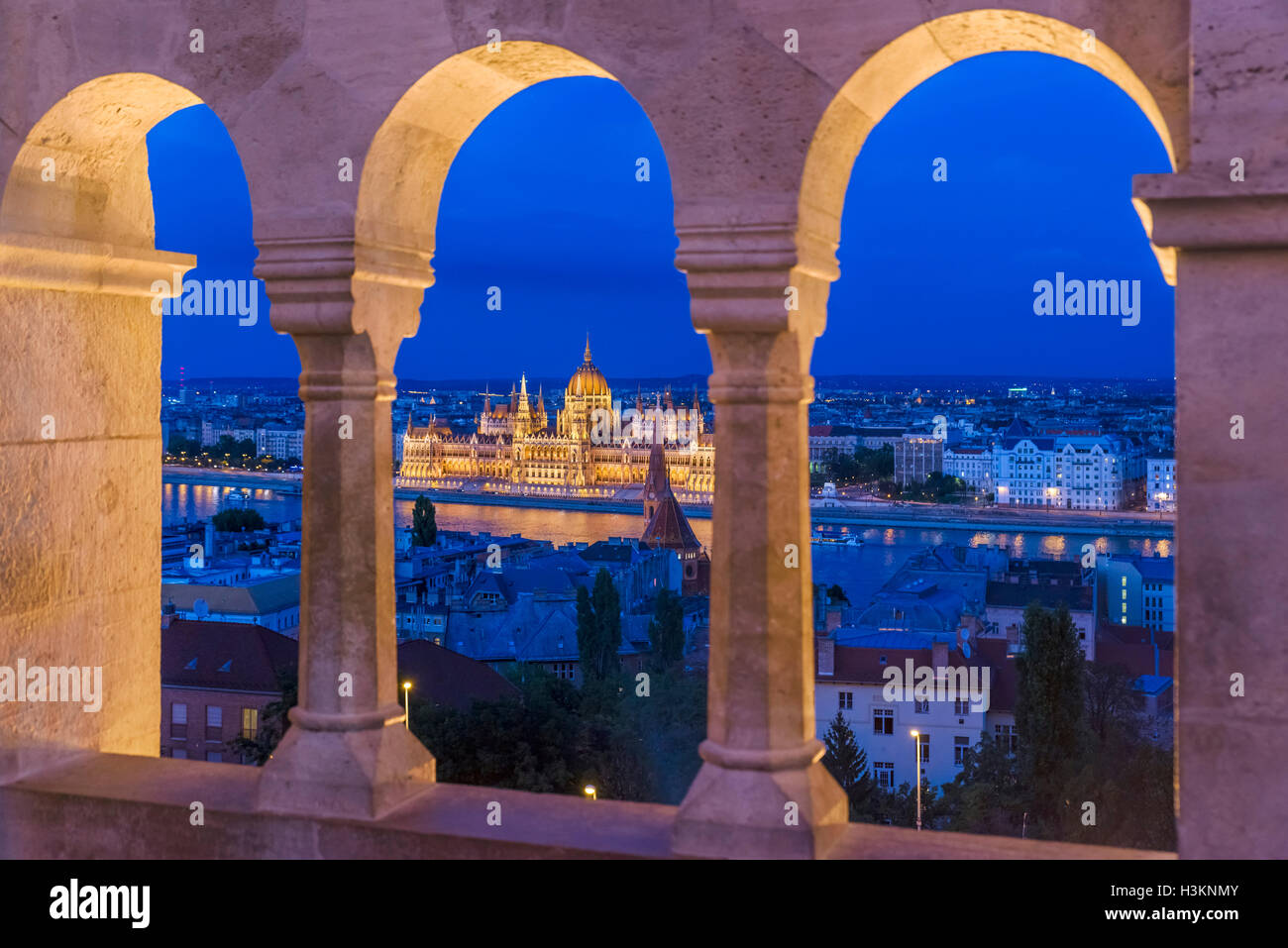 View over the Danube River towards the Hungarian Parliament from Fishermen's Bastion, Buda Castle district, - Stock Image