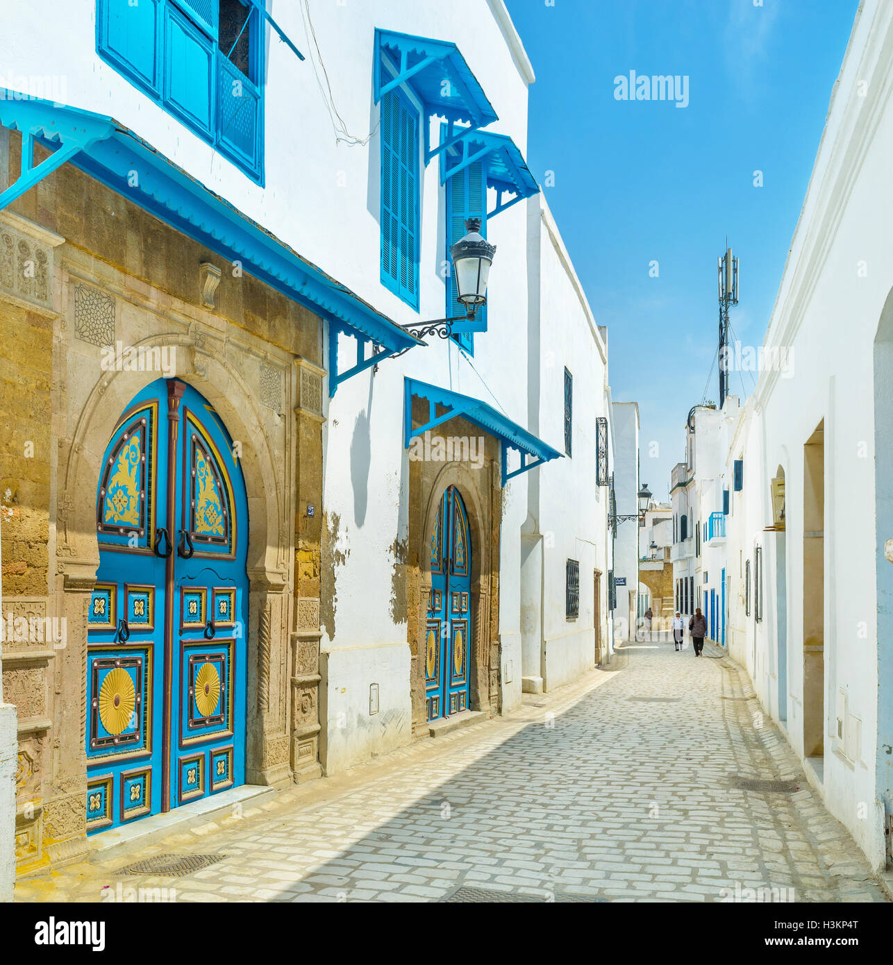 The modest arabic houses often boast unique colorful doors in Tunis. - Stock Image