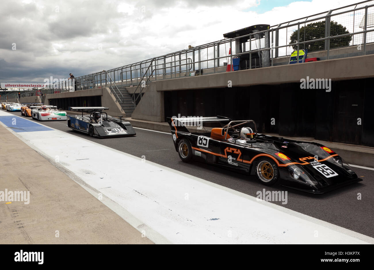Competitors exiting the international pit lane during qualifying for the Can-Am 50 Interserie Challenge  Trophy. - Stock Image