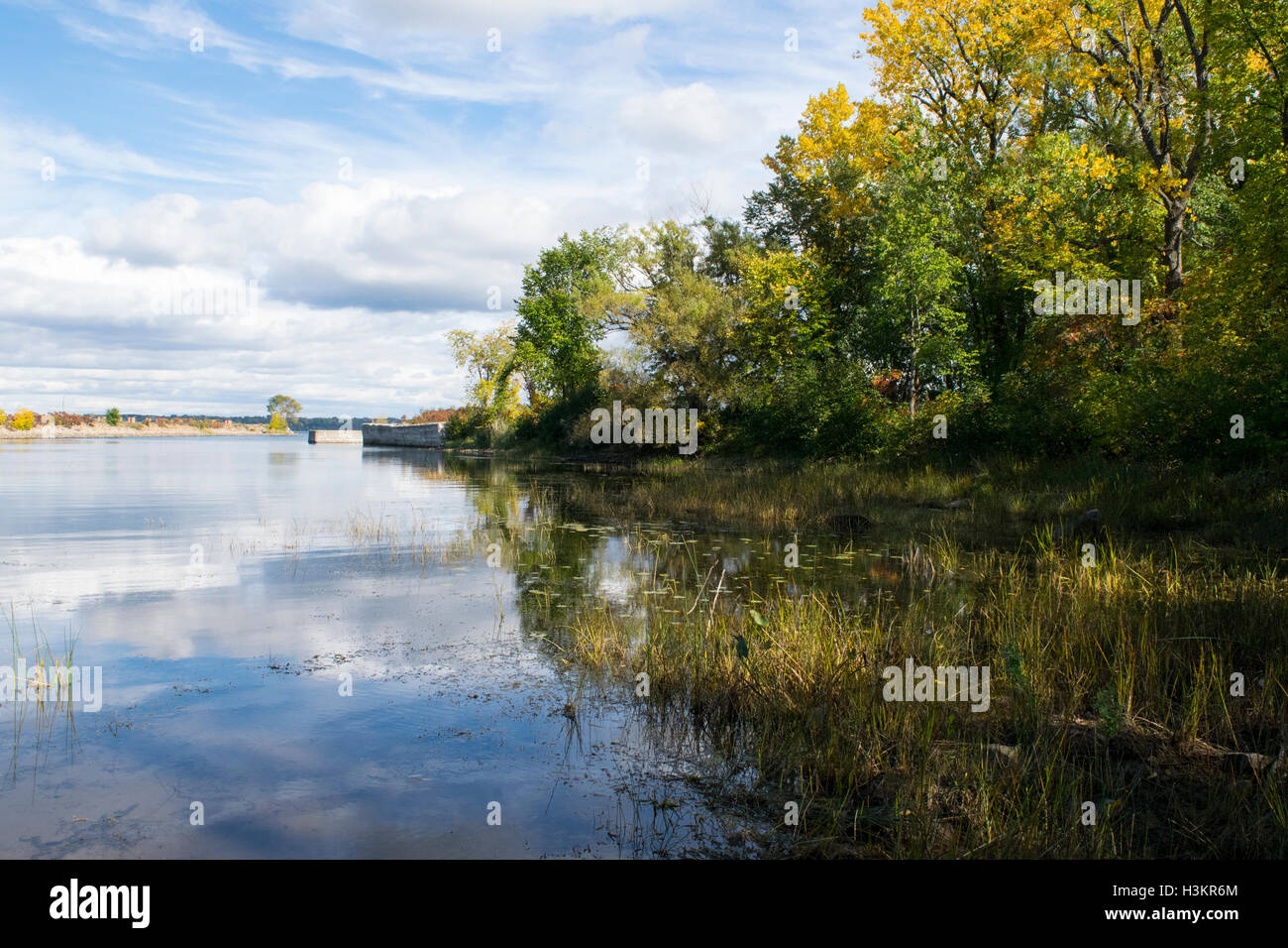 An autumn scene near the entrance to the Soulange Canal - Stock Image