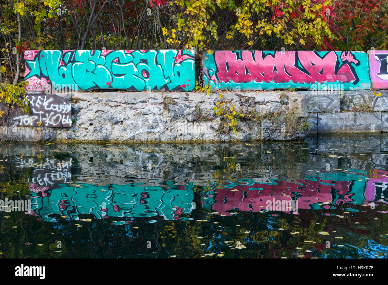 A view of graffiti in the Soulange Canal. - Stock Image
