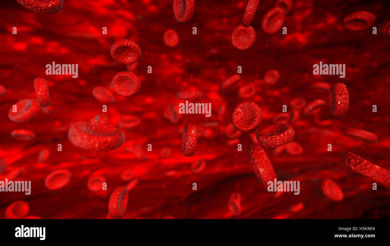 Abstract blood cells illustration, scientific or medical or microbiological background - Stock Image