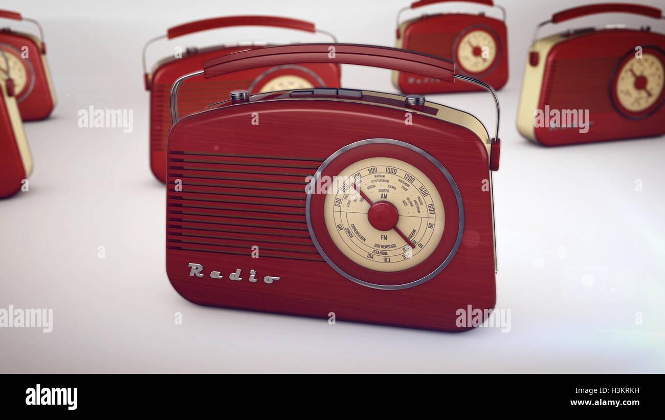 3D rendering of Red Retro Radio Receivers - Stock Image