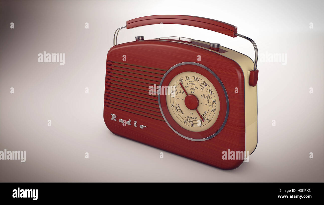 3D rendering of Red Radio receiver in perspective view - Stock Image