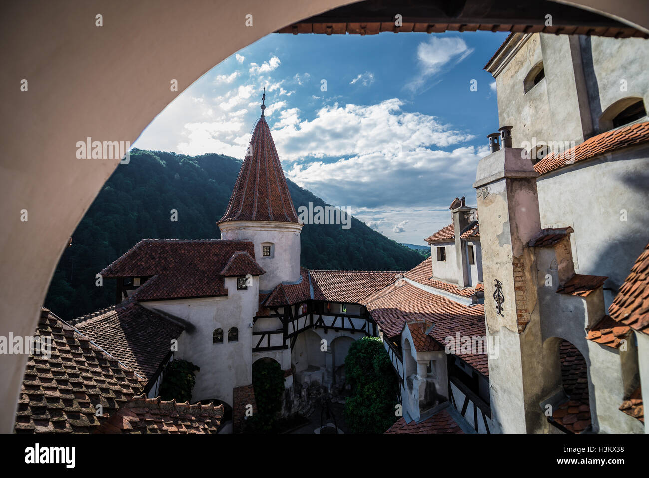 Bran Castle near Bran, Romania, commonly known as 'Dracula's Castle', home of title character in Bram - Stock Image
