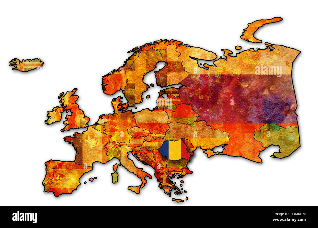 Outline Romania Map Stock Photos & Outline Romania Map Stock Images ...
