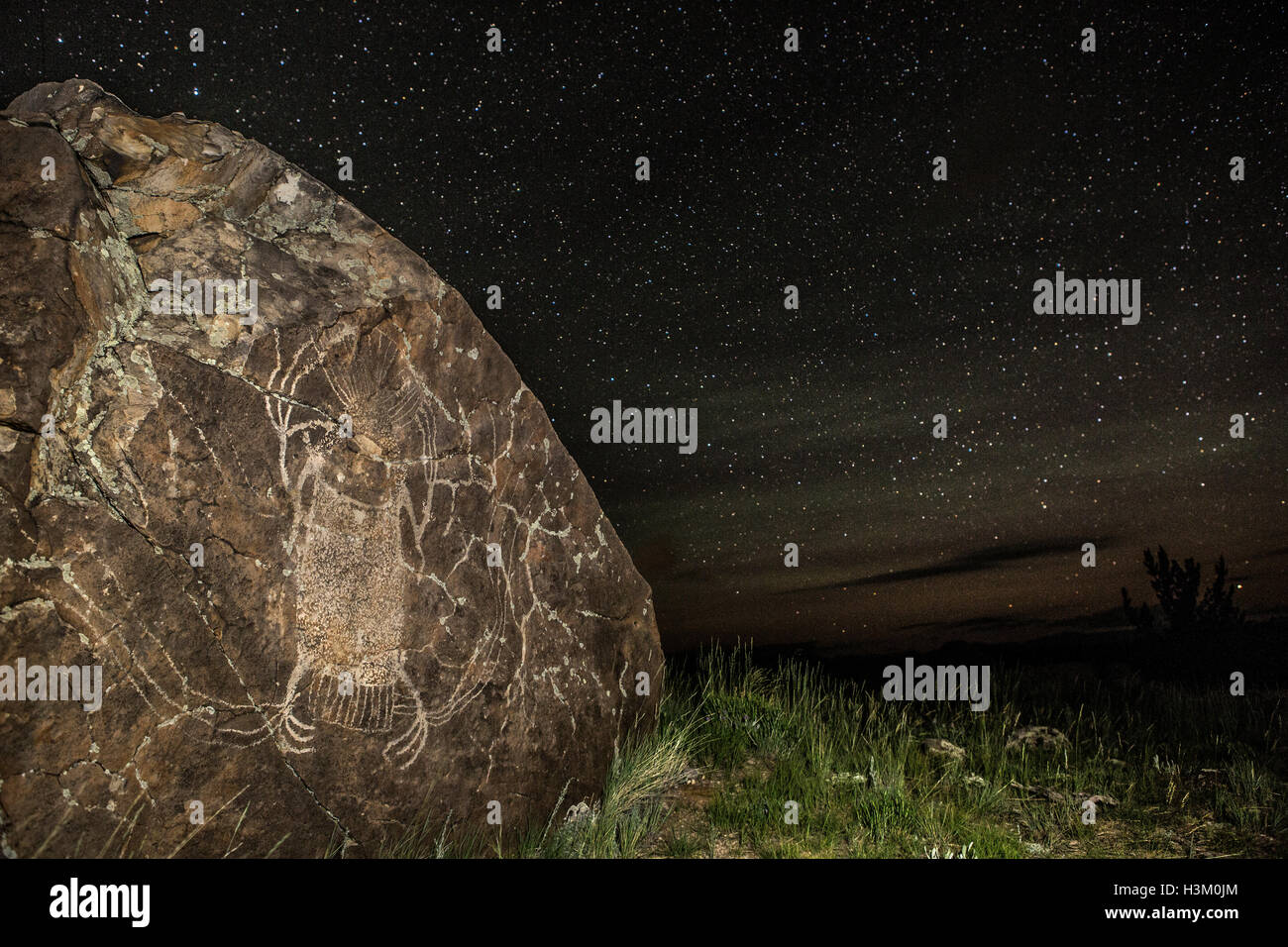 WY01024-00...WYOMING - Pictograph created by the Native American Sheep Eaters Tribe stands alone on a rock above - Stock Image