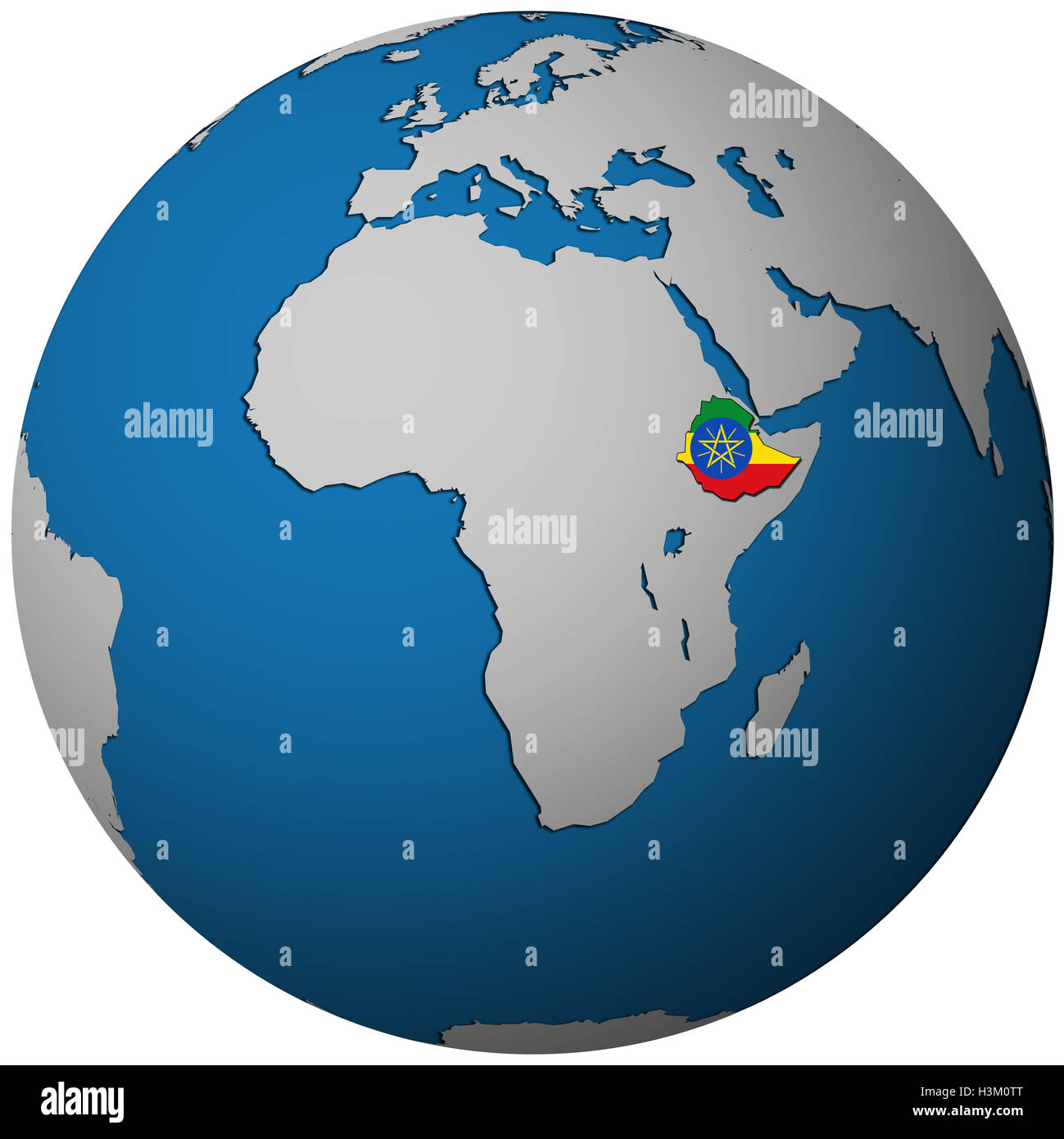 Picture of: Ethiopia Territory With Flag On Map Of Globe Stock Photo Alamy