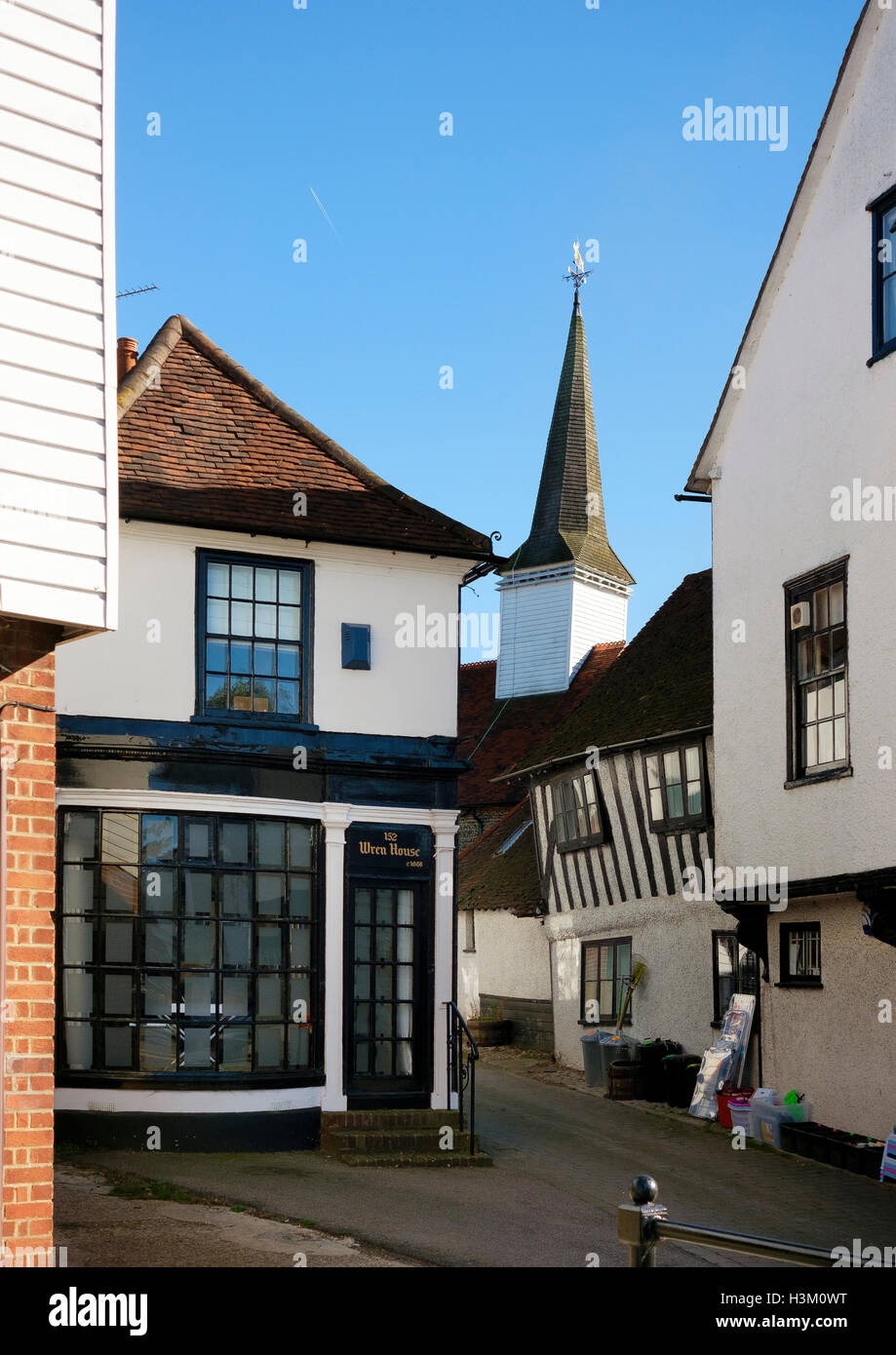 Slightly crooked medieval architecture in the Essex town of Chipping Ongar - Stock Image