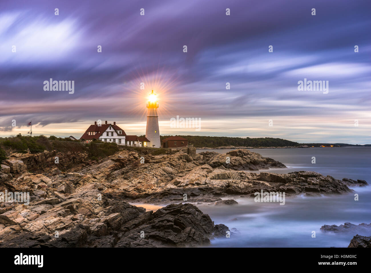 Portland Head Light in Cape Elizabeth, Maine, USA. - Stock Image