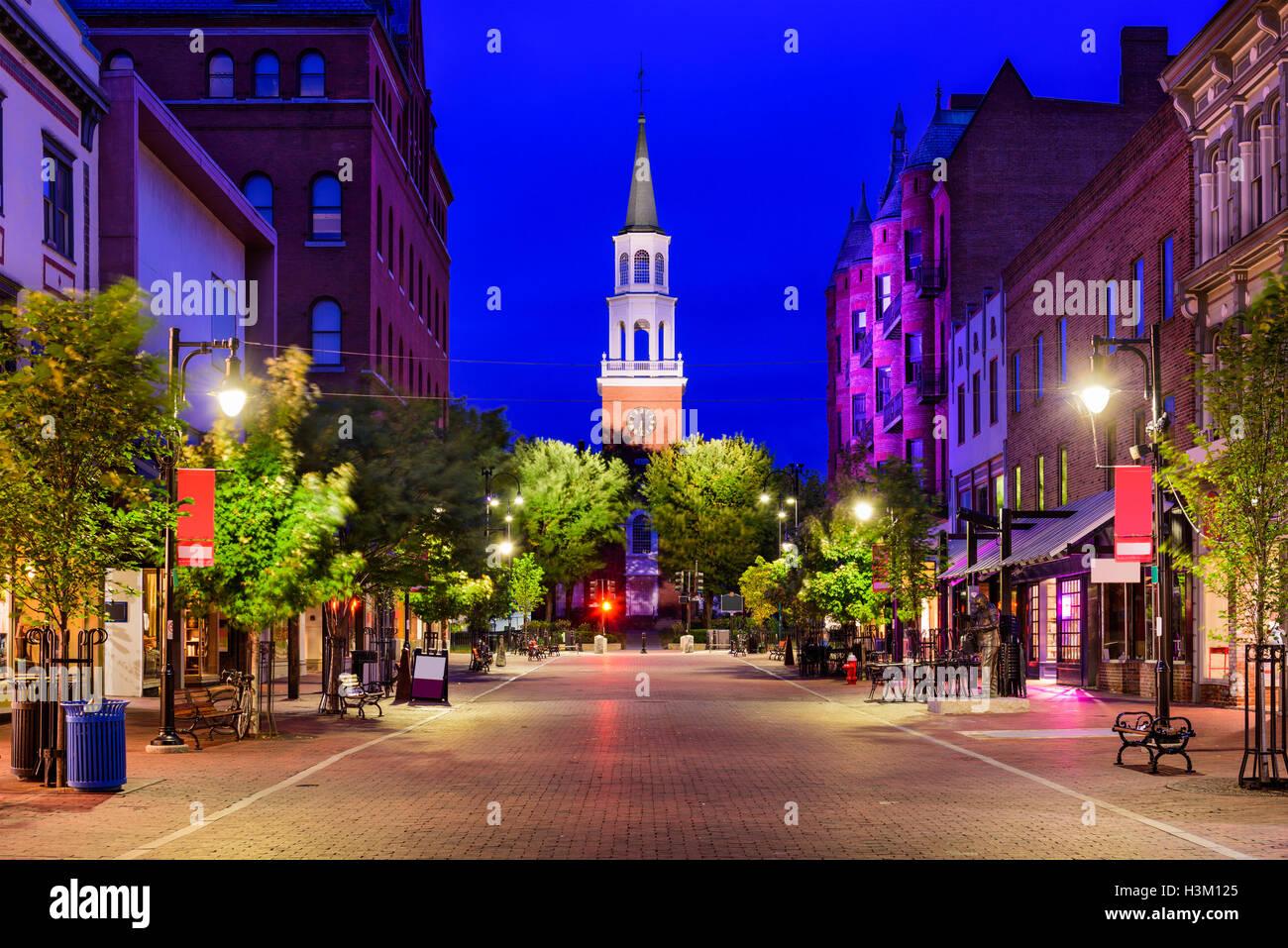 Burlington, Vermont, USA at Church Street Marketplace. - Stock Image